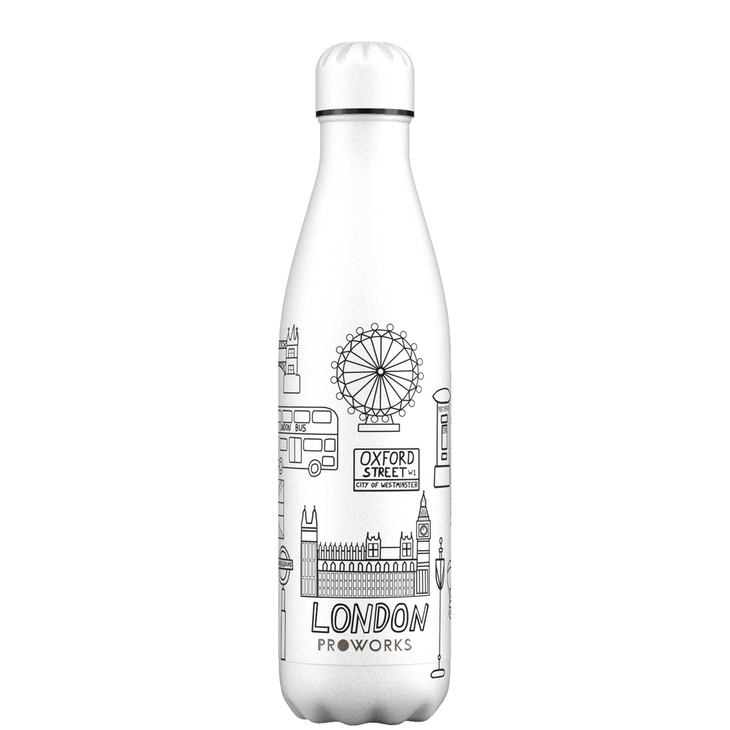 Proworks White London Outline Edition 750ml Water Bottle