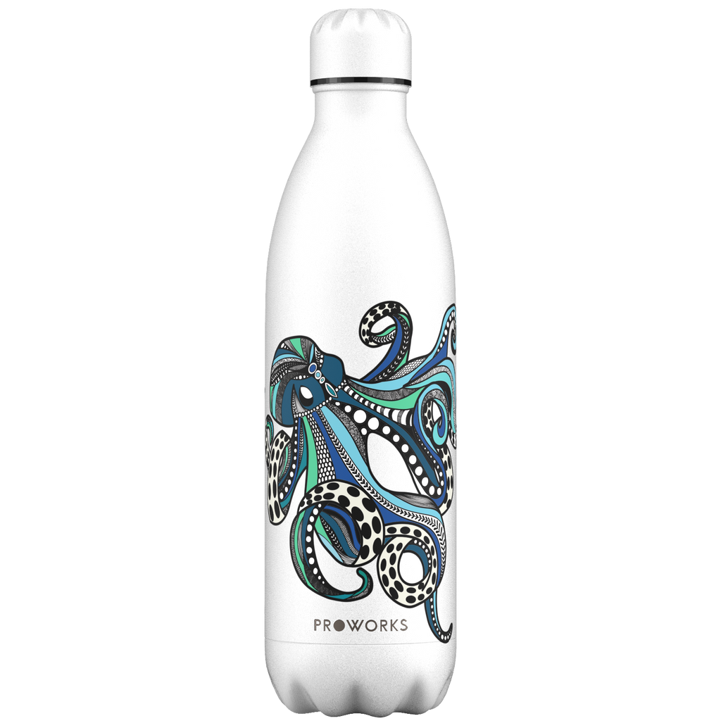 Proworks White Octopus 1L Water Bottle