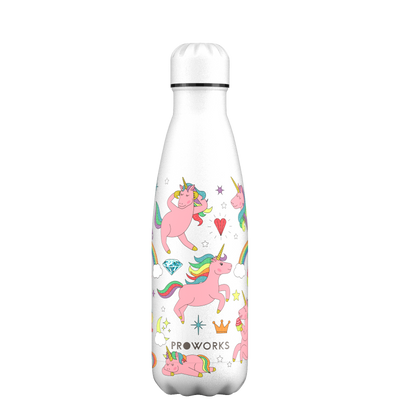 Proworks White Unicorn 500ml Water Bottle