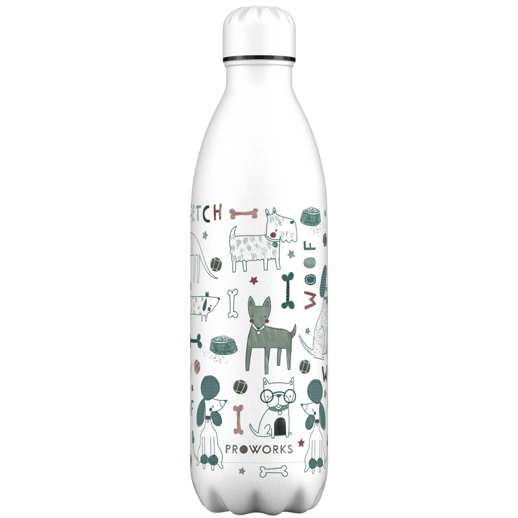 Proworks White Woof Dogs 1L Water Bottle