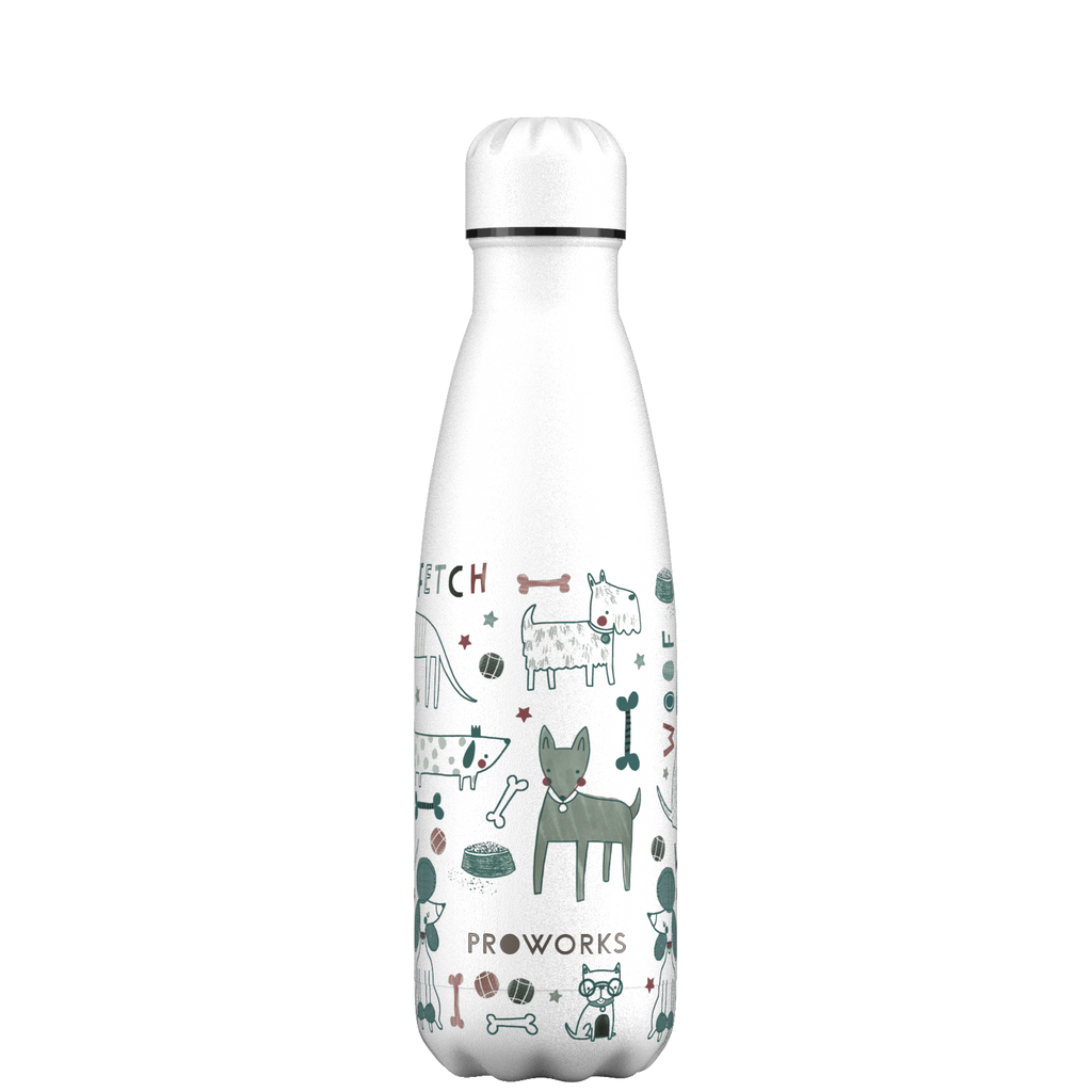 Proworks White Woof Dogs 500ml Water Bottle