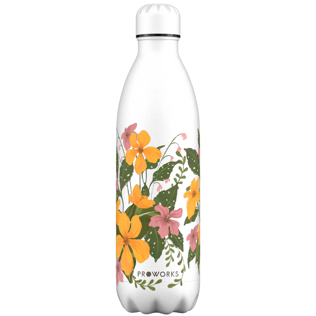 Proworks Yellow Floral 1L Water Bottle