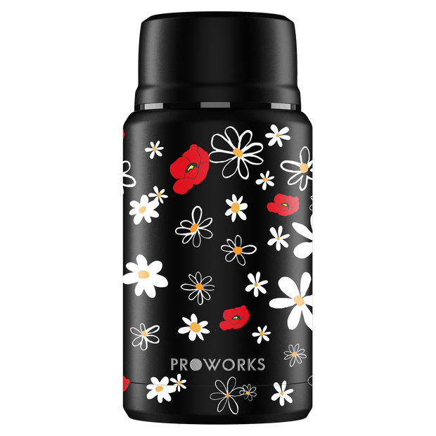 Proworks Black Daisy Food Flask 750ml