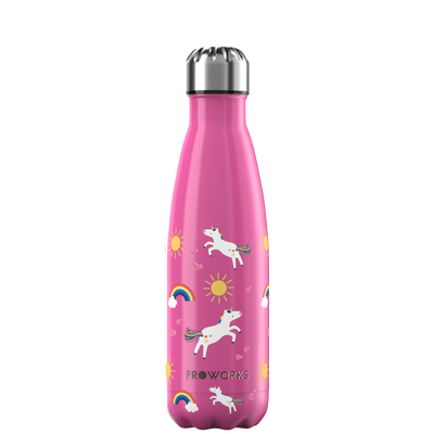 Proworks Hot Pink Unicorn 500ml Water Bottle