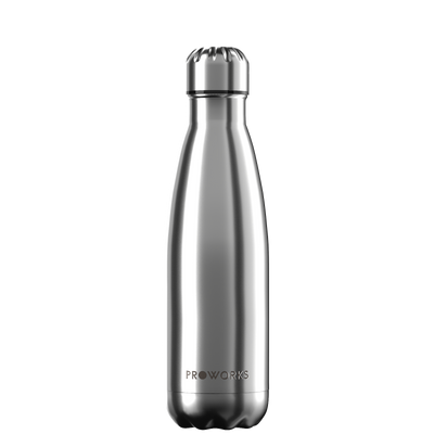 Proworks Metallic Silver 500ml Water Bottle