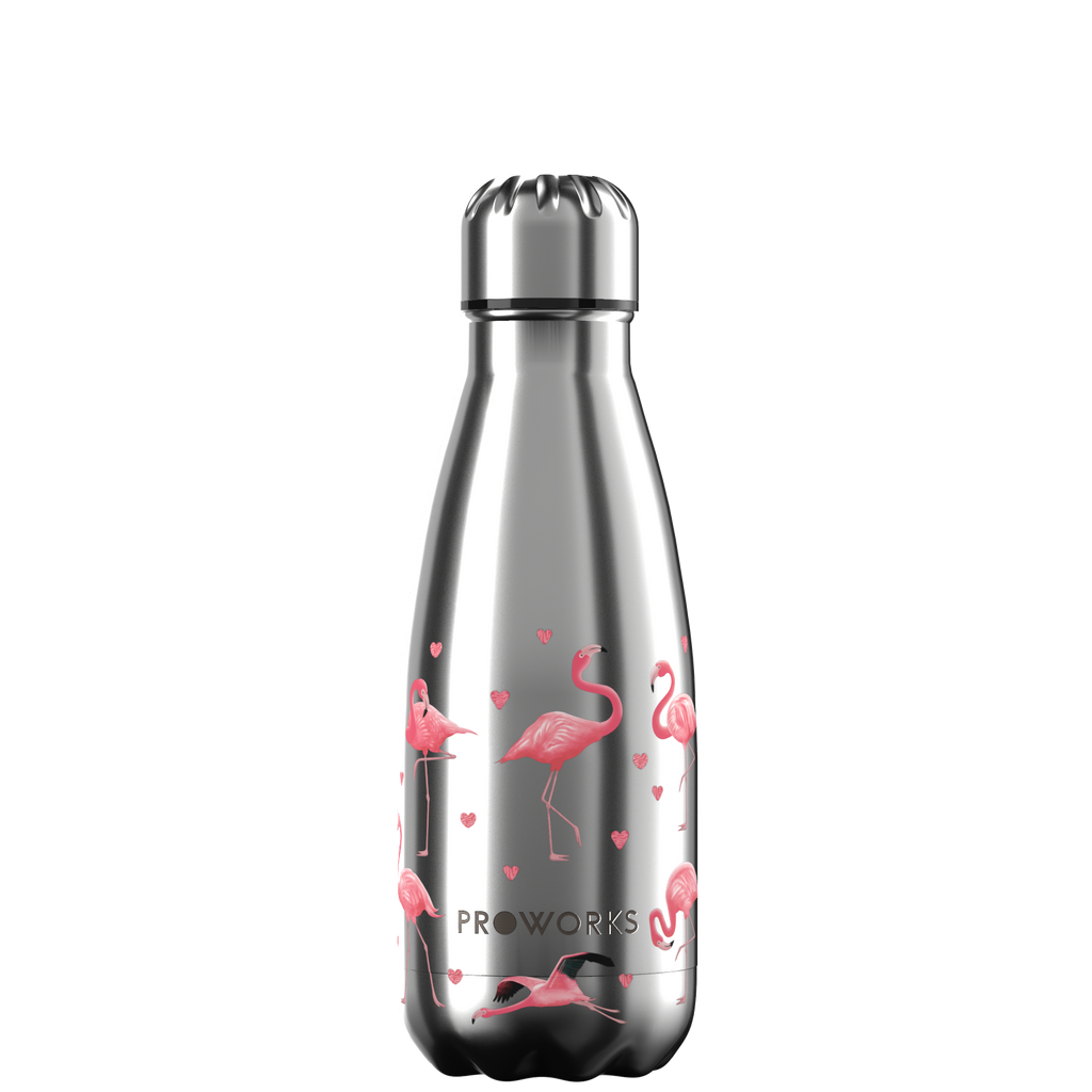 Proworks Silver Flamingo 350ml Water Bottle