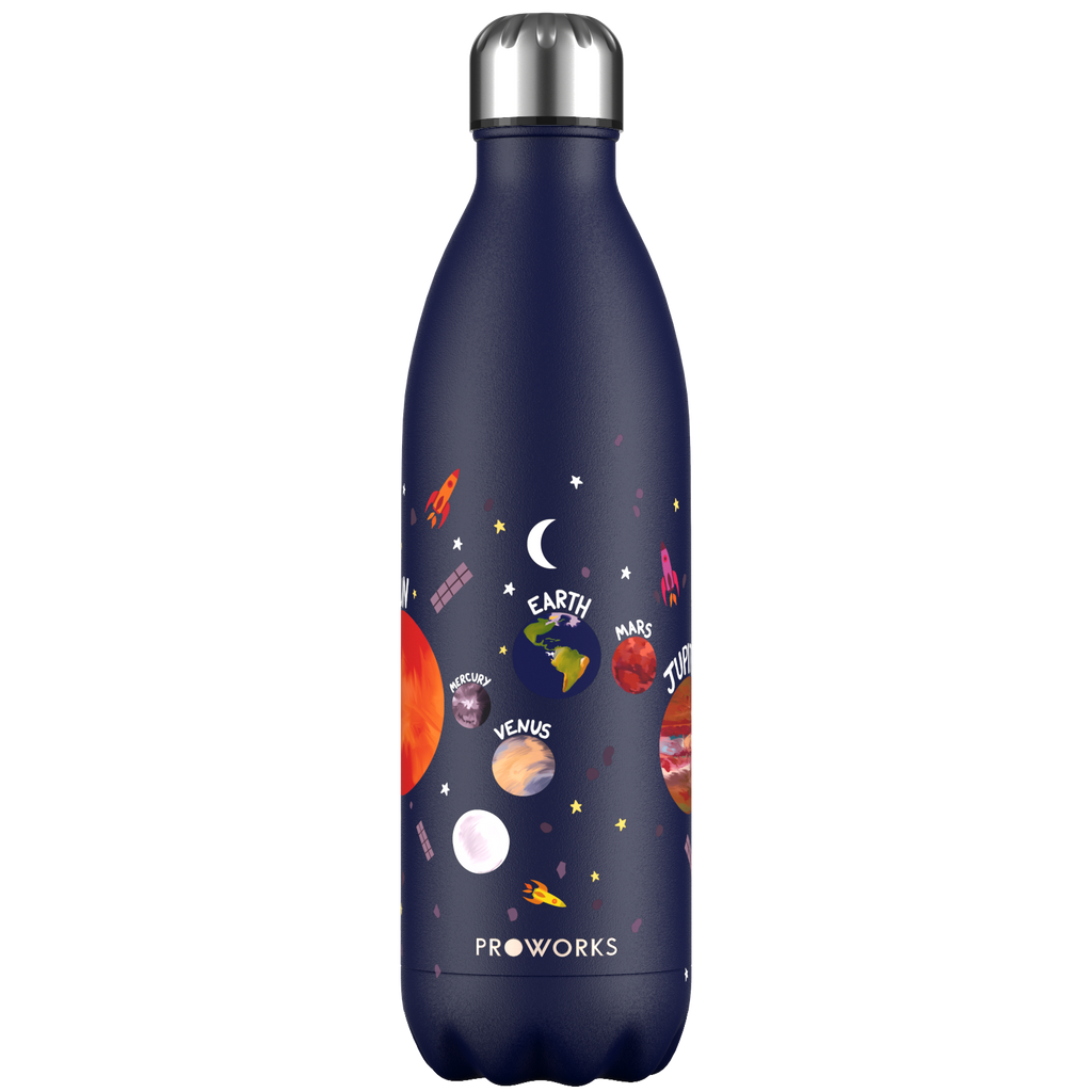 Proworks Midnight Blue Planets 1L Water Bottle