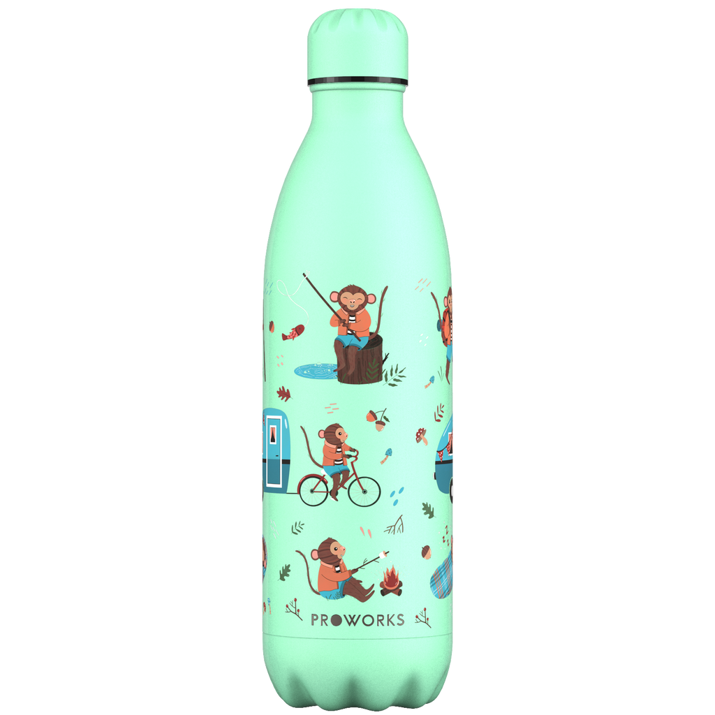 Proworks Neo Mint Monkey Holiday 1L Water Bottle
