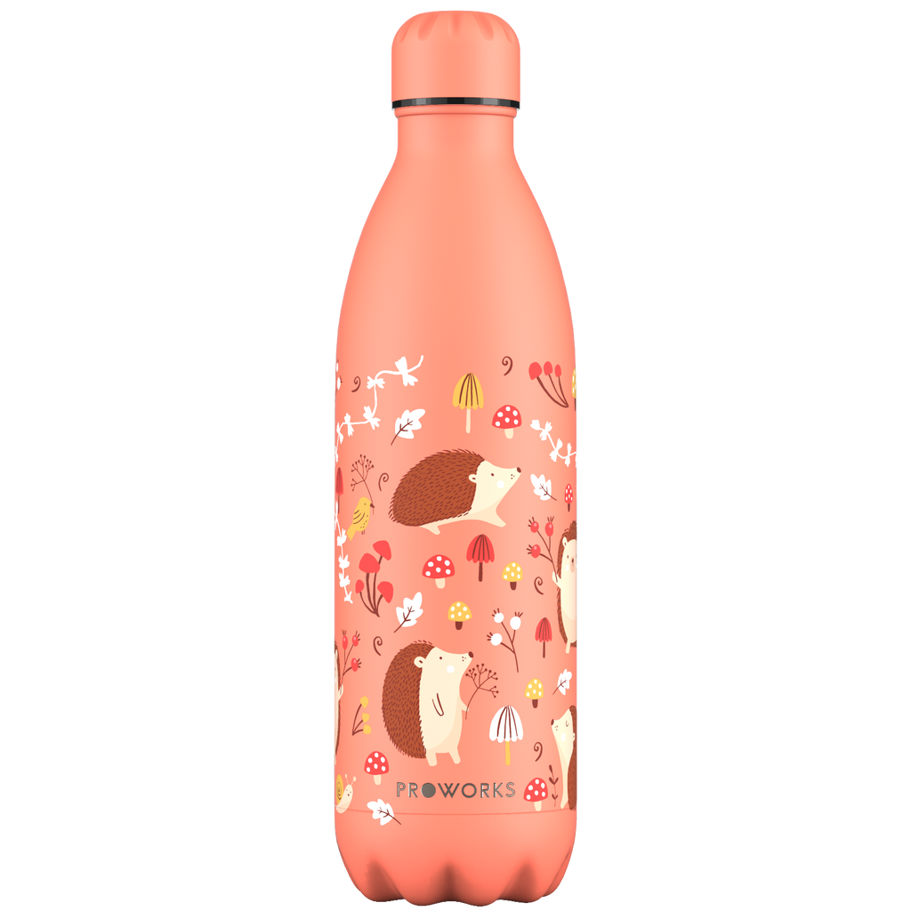Proworks Peach Sunrise Hedgehog Adventure 1L Water Bottle