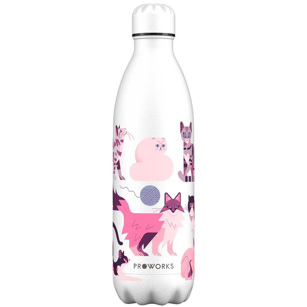 Proworks White Cats 1L Water Bottle