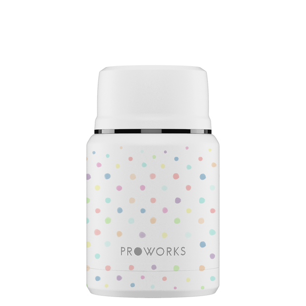 Proworks White Polka Dot Food Flask 500ml