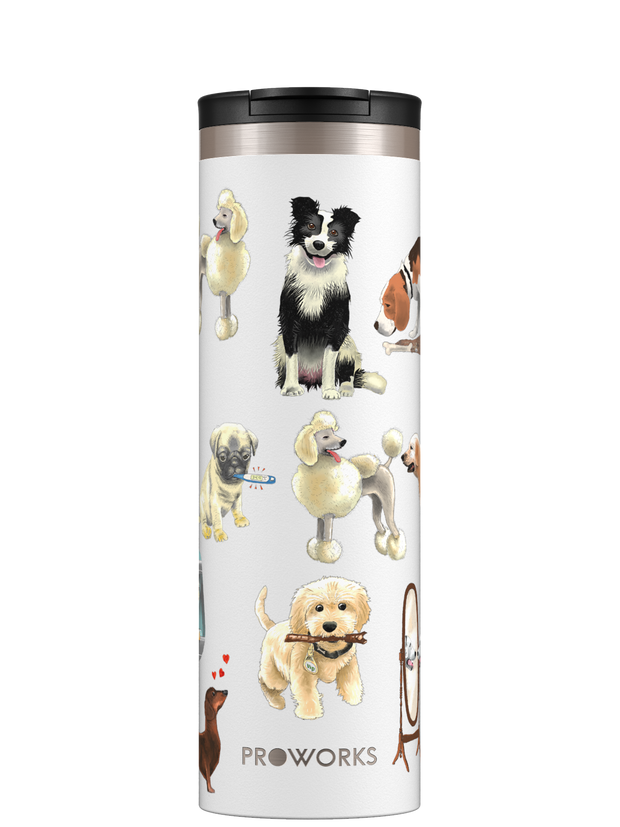Proworks White A Dogs Tail Travel Mug Trimmed