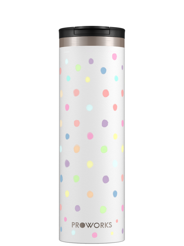 Proworks All White Polka Dot Travel Mug Trimmed