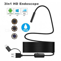 Latest IP68 HD Waterproof 3-in-1 Computer/Smartphone Endoscope Tube Camera - oltrends