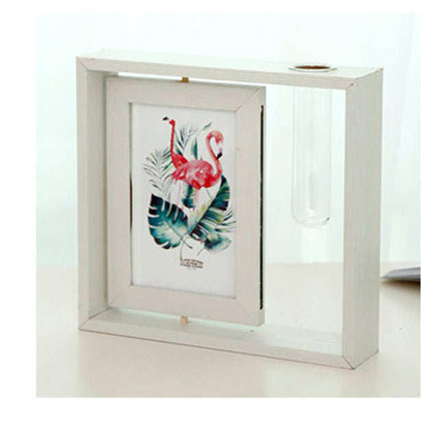 Wooden Memorial Photo Frame 6' Set W/ glass vase , Water Plant