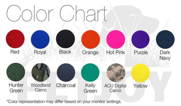 Petjoy vest color chart