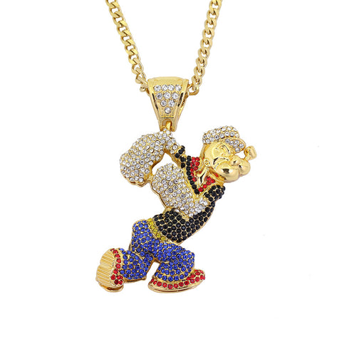 Iced Out Popeye Pendant