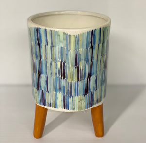 "3.5"" Ceramic Multi Color pot with Legs"