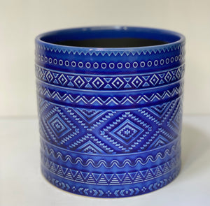 "6.25"" Blue Flower Pot"