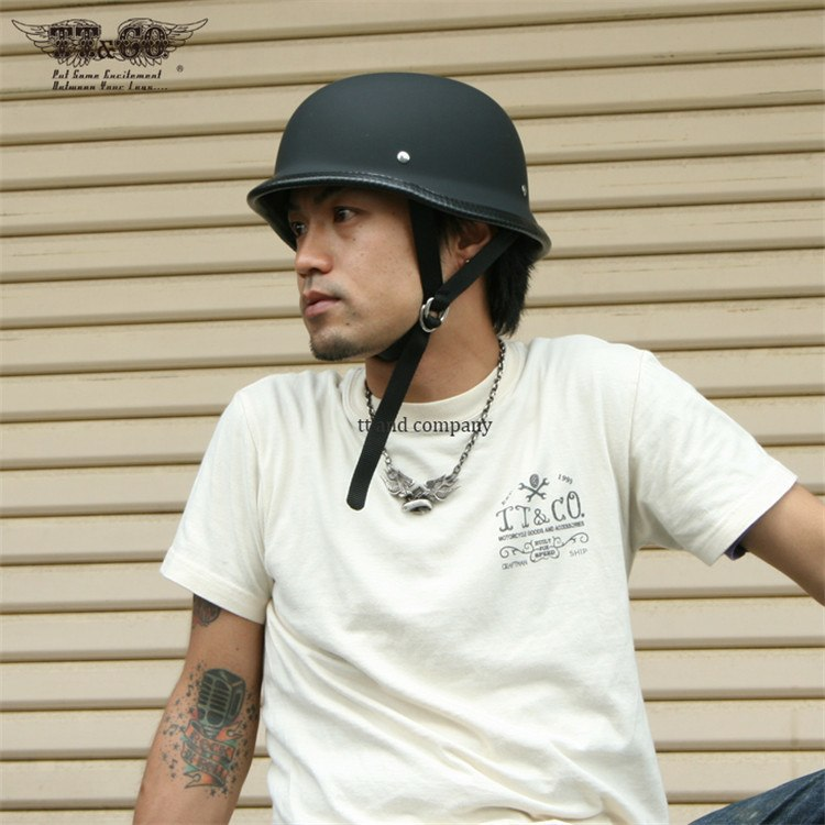 German Motorcycle Helmet Low Profile Dot Approved Matte Black or Chrome M/L/XL  VERY SMALL SIZES