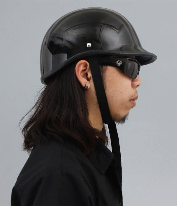 Polo Motorcycle Helmet Dot Black | Biker Lid DOT Approved Low Profile Mayans Style