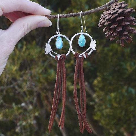Nature inspired turquoise earrings