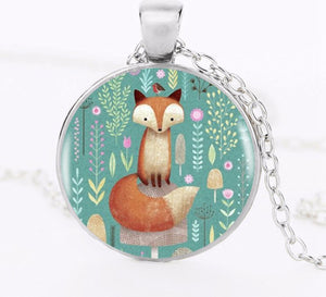 Fox In the Flowers Pendant