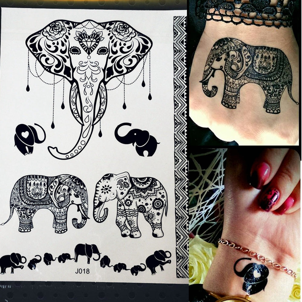 Black Elephant Temporary Tattoo Sticker