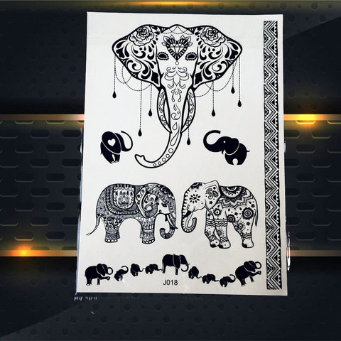 Image of Black Elephant Temporary Tattoo Sticker