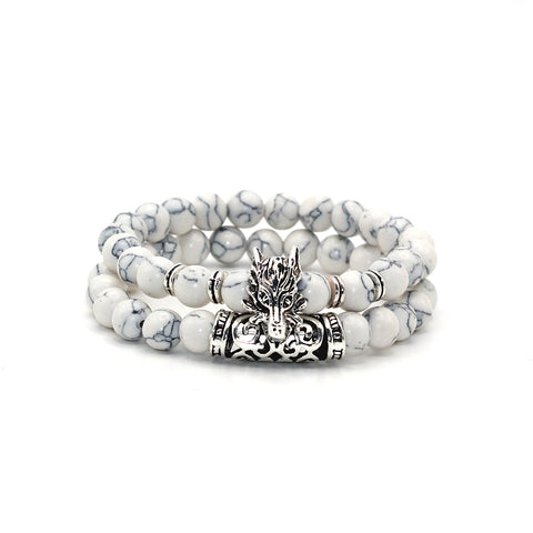 Double Stack Natural Stone Wolf Bracelet