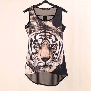 Women's Printed Tiger Sleeveless Tiger T Shirt