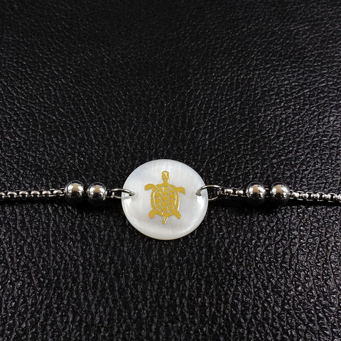 Image of Round Shell Stainless Steel Turtle Charm Bracelet