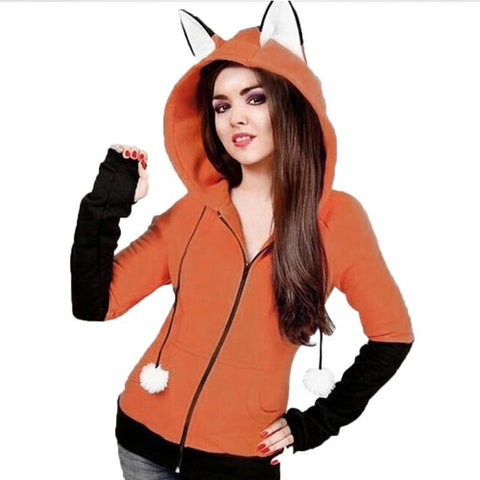 Image of Women's Hoodies Fox Ears Hooded Sweatshirt