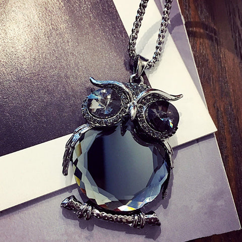 Image of Owl Necklace Black Long Chain