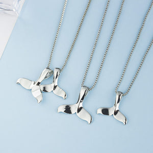 Silver Dolphin Tail Charm Necklace