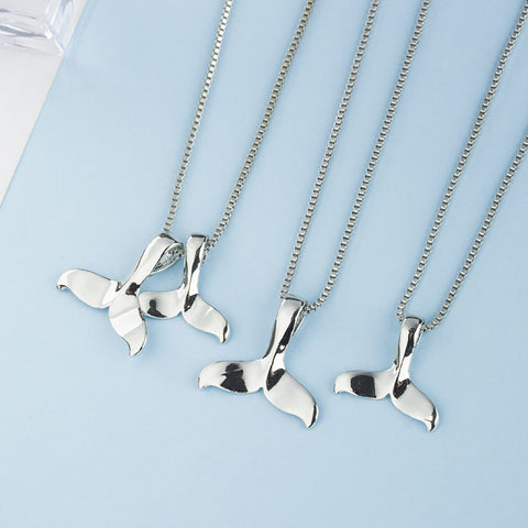 Image of Silver Dolphin Tail Charm Necklace