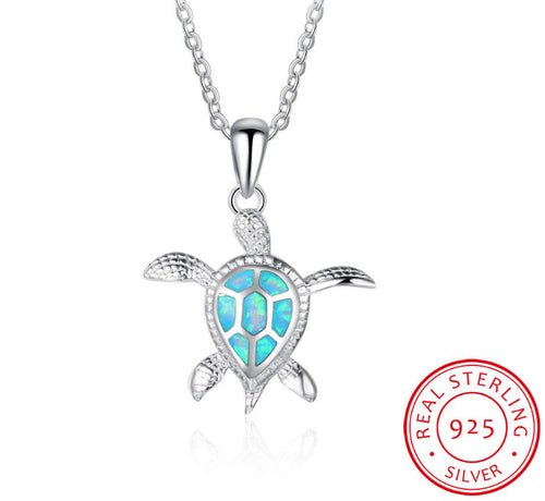 Turtle Sterling Silver Opal Pendants
