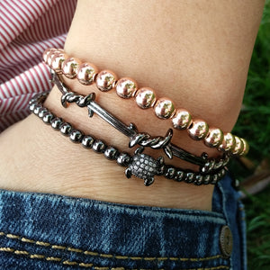 4mm Gold/Black Stainless Steel Turtle Beads Bracelet
