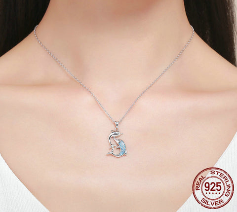 Image of Sterling Silver Love Dolphins Pendant