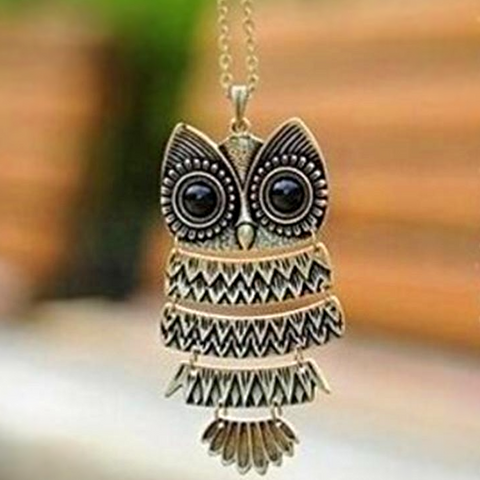 Image of Bronze Owl Pendant Necklace