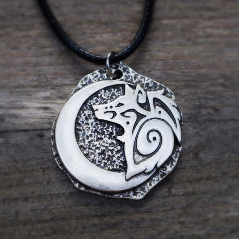 Wolf and Moon Crescent Necklace