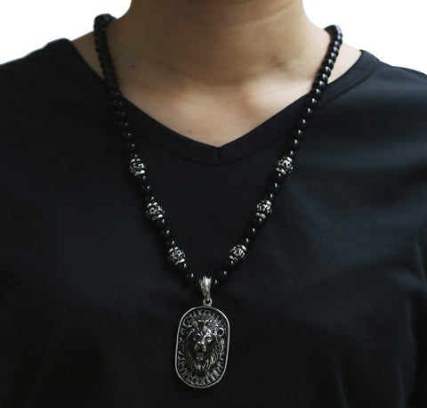 Image of Stainless Steel Lion Pendant Necklace