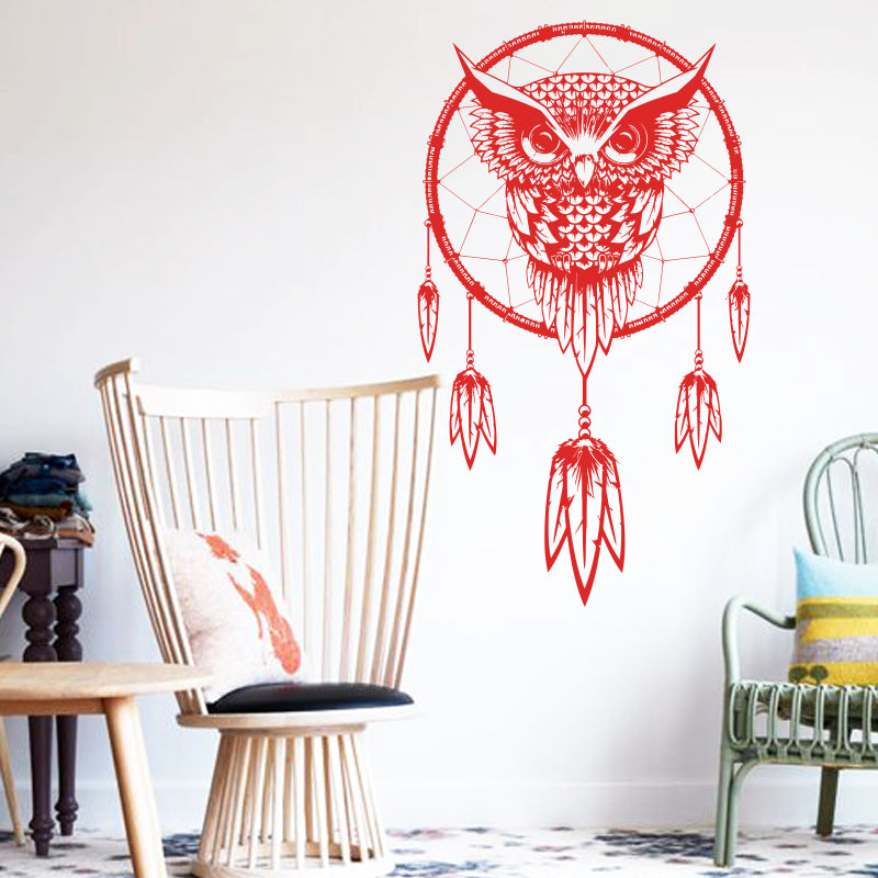 owl indian dream catcher wall decal – spirit animal store