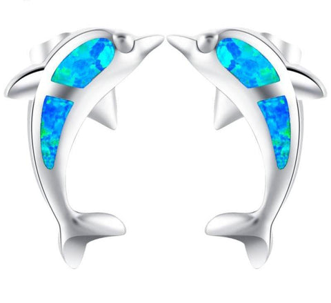 Dolphin Blue Fire Opal Stud Earrings