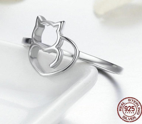 925 Sterling Silver Little Cat & Heart Ring
