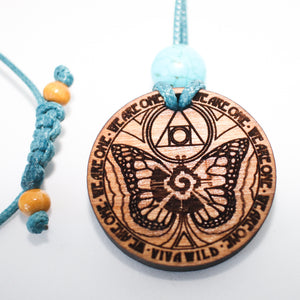 Butterfly 1.5 Diameter Handcrafted Alder Wood Power Animal Pendant
