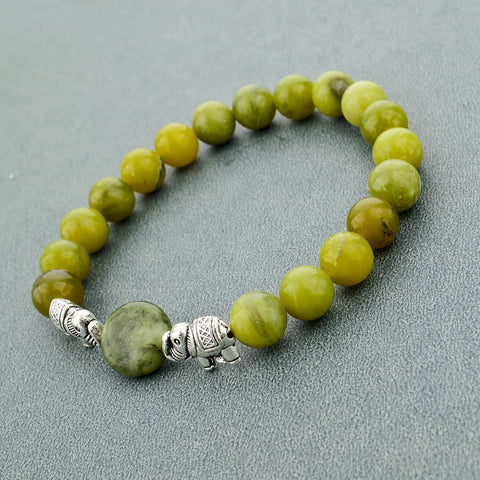 Image of Green Natural Stone Beads Bracelet