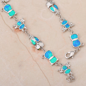 Blue Fire Opal Cat Bracelet