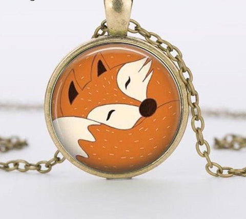 Image of Fox Necklace Watercolor Art Pendant