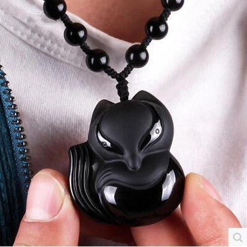 Black Obsidian Hand-Carved Lucky Fox Necklace